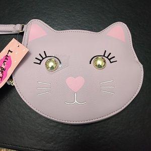 Betsey Johnson pastel purple kitty coin purse